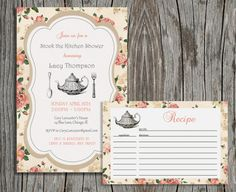 Stock the Kitchen Invitation and Recipe Card by pegsprints on Etsy