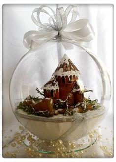 Bombka 3D z zimowym krajobrazem zamkiem na skale - Art-Emi - Dekoracje: bombki