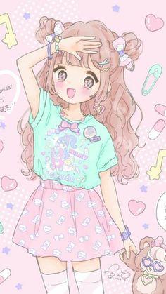 Anime, fashion, and sweet lolita image anime style, cute art, anime kawaii Kawaii Anime Girl, Loli Kawaii, Manga Anime Girl, Cute Anime Chibi, Kawaii Chibi, Anime Girl Drawings, Anime Girl Cute, Anime Girls, Anime Art