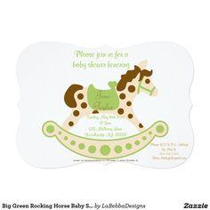 Big Green Rocking Horse Baby Shower 5x7 Paper Invitation Card