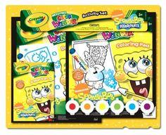 Crayola Nick Spongebob Activity Set by Crayola. $29.09. 18 page Color Wonder Coloring Book. 6 Color Wonder Markers. 6 Finger Paintgels with brush. 24 page Color Wonder Drawing Book. From the Manufacturer                Crayola Nick Spongebob Gift Set                                    Product Description                Crayola Nick Spongebob Gift Set