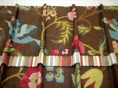 Shower curtain with attached valance, striped banding, and hans sewn pencil pleats. Judy Peters. www.palmettodrapery.com