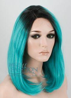 """10"""" Short Wavy Turquoise Green Customizable Lace Front Synthetic Hair"""