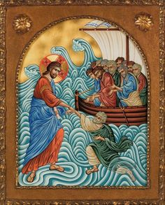 IcoWat - Orthodox Christ Walking on the Water Icon - Eastern Giftshop Religious Icons, Religious Art, Jesus Calms The Storm, Water Icon, Byzantine Icons, Orthodox Christianity, Jesus Pictures, Art Icon, Backgrounds