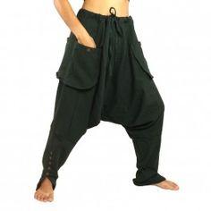 Color verde oscuro - algodon - pantalones Sarouel