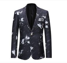 Men's Clothing Mens Floral Blazer Brand Casual Blazer Jacket Men Gold Flower Fashion Print Blazers Male Prom Party Stage Wear Pure And Mild Flavor