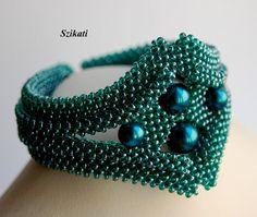Blaugrün Pearl/Seed Perlen Armband, Manschette, Anweisung Beadwork Armband, 3D Roh, elegante Damen Schmuck, Beadwoven Kunst Schmuck, Einmaliges Geschenk, OOAK