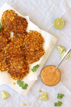 Mexican Street Corn Fritters with Chile Lime Mayo sauce recipe Vegan Snacks, Vegan Recipes, Mexican Appetizers, Mexican Street Corn, Corn Fritters, Food Presentation, Sauce Recipes, Love Food, Cravings