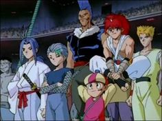 jin from yu yu hakusho   Shishiyakamaru, Toya, Chu, Rinku, Jin, and Suzuka