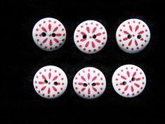 NEW Wooden buttons sewing scrapbook Mixed color Mushroom shape Smile 2-hole 22mm