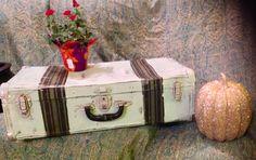 Painted vintage suitcase