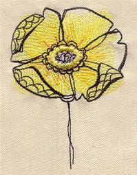 Pretty free machine embroidery Painted Flowers @urbanthreads this week