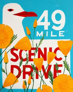 49 Mile Drive Poppy Print - Affordable Art