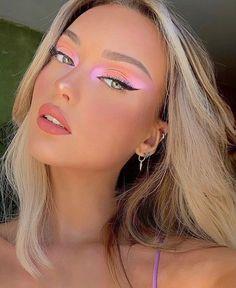 Edgy Makeup, Makeup Eye Looks, Pink Makeup, Pretty Makeup, Colorful Makeup, Eye Makeup Art, Hair Makeup, Makeup Eyes, Full Face Makeup