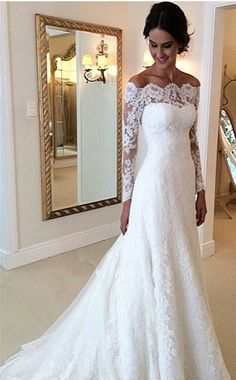 White Off-the-shoulder Lace Long Sleeve Bridal Gowns Cheap Simple Custom Made Wedding Dress
