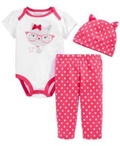First Impressions Baby Girls' 3-Piece Cat Bodysuit, Dotted Hat & Leggings Set