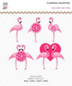 Flamingo Valentine svg Cut files DXF SVG EPS png Love Bird Heart vinyl Cricut Design, Silhouette studio, Sure Cuts A lot  , instant Download by SvgCutArt on Etsy