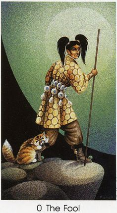 The Fool - Tarot of the Cat People by Karen Kuykendall.