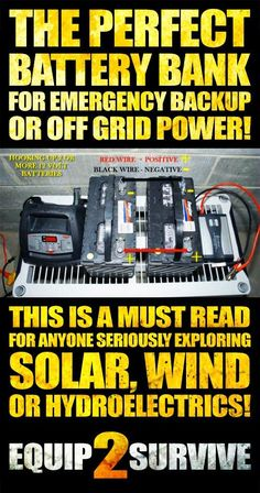 This is a MUST READ for anyone seriously exploring solar, wind or hydroelectric power generation for emergency backup or complete off grid power generation! Learn to make your own DIY battery bank to compliment your energy harvesting and SAVE lots of mone New Energy, Save Energy, Energy News, Renewable Energy, Solar Energy, Energy Harvesting, Hydroelectric Power, Solar Projects, Energy Projects