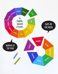This free download is available in Spanish too. Spanish days of the week. Spanish months of the year. Days of the week & Months of the year flash cards (available in English, Spanish, French)