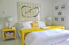 """Great idea! Painted ikea console table on rollers """"bed desk"""" :)"""