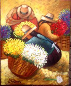 hermanas Arte Latina, Mexican Paintings, Peruvian Art, Feather Drawing, Mexico Art, Pastel Portraits, Sunflower Art, Southwest Art, Naive Art