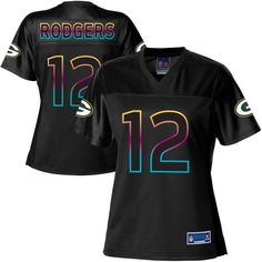 Pro Line Women's Green Bay Packers Aaron Rodgers Fashion Jersey - Black DEFINITELY WANT!