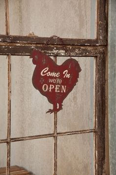 Red Metal Chicken Open/Closed Sign - Marmalade Mercantile
