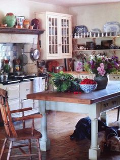 Love this french country kitchen with open shelves