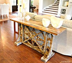Loved this rustic console table at southern living showcase home tour in Tampa, FL - See more of it at Fresh Idea Studio