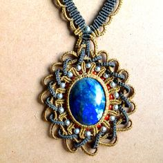 Macrame Necklace with Lapis Lazuli by Coco Paniora Salinas