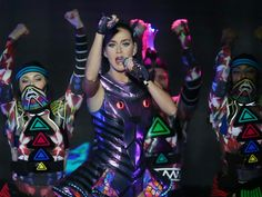 Singer Katy Perry (C) performs during a concert as part of her 'Prismatic World' tour in Santiago, Chile on October 6, 2015.   Mario Ruiz, EPA