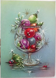 60s Sparkly Ornaments in the Glass Jar-Vintage Christmas Greeting Card   eBay