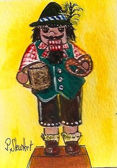 Aceo nutcracker painting #bavarian beer pretzel #christmas toy art #penny stewart,  View more on the LINK: 	http://www.zeppy.io/product/gb/2/351953476423/