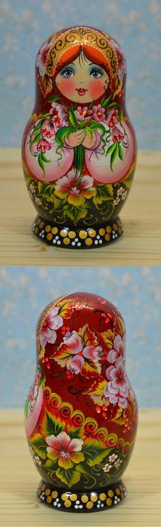 Matryoshka doll in floral design by artist Nelly Marchenko, find more beautiful nesting dolls at: www.bestrussiandolls.etsy.com