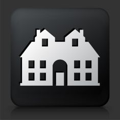 Black Square Button with House vector art illustration