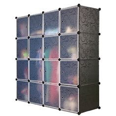 Unicoo - Multi Use DIY Plastic 16 Cube Organizer, Bookcase, Storage Cabinet, Wardrobe Closet Black with White Door (Panel size:35*35)(Black)