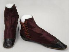 shoe circa 1860 CLOTH LACED LEATHER SILK TWILL Oakland Museum of California