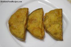 Deep Fried Eggplant/Brinjal Fritters (Gulla Phodi/Bajo) - KonkaniFoodRecipes.com