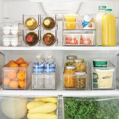"Amazon.com: InterDesign Refrigerator and Freezer Storage Organizer Bins for Kitchen, 4"" x 4"" x 14.5"", Clear: Appliances"