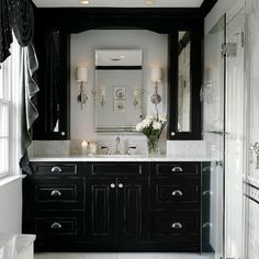 Black and White Bathroom. Just a different perspective on what I was thinking.