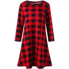 Christmas Plaid Swing Mini Dress (750 RUB) ❤ liked on Polyvore featuring dresses, rosegal, christmas dresses, christmas day dress, red dresses, tartan dress and short plaid dress