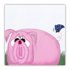Chumley The Pig And His Visitors Wood Print.  By #OneArtsyMomma