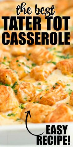 This easy and cheesy tater tot casserole recipe is the perfect dinner for busy nights. A simple hearty casserole it combines ground turkey veggies spices crispy tater tots and lots of cheese. You could also make it with ground beef or ground chicken too. Cheesy Tater Tot Casserole, Cowboy Casserole, Ground Beef Casserole, Tatertot Casserole Recipe, Casseroles With Ground Beef, Cheesy Tater Tots, How To Make Tater Tot Casserole Recipe, Cheesy Tots Recipe, Easy Casserole Recipes For Dinner Beef
