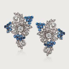 Vintage Diamond and Sapphire Floral Earrings, ca. 1950 | Sidney Thomas