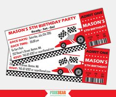 Race Car invitation for a Race Car Birthday by PixieBearParty  on Etsy #RaceCar #BirthdayParty