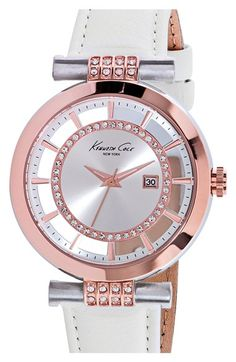 Women's Kenneth Cole New York Crystal Accent Leather Strap Watch