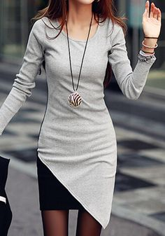 Colorcontrasted Body-Con Dress - Features Assymetrical Hem Dress