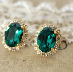 Green Emerald color Crystal big oval stud earring - 14k plated gold post earrings real swarovski rhinestones $42.00, via Etsy.