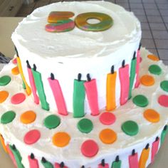 My mom's 50th birthday cake ... Cookies N' Cream cake and vanilla buttercream frosting with fondant decorations